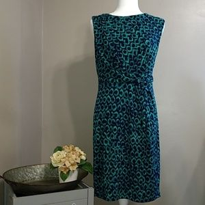 Ann Taylor Navy Green Pattern Modest Dress 6